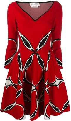 Alexander McQueen V-neck flared dress