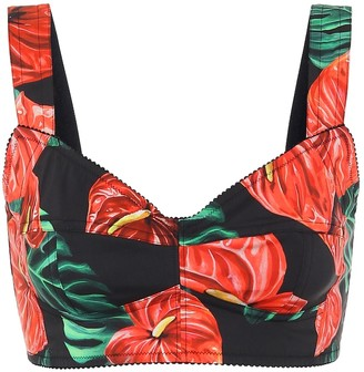 Dolce & Gabbana Floral cotton-blend bustier
