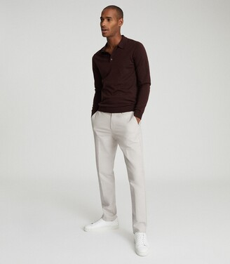 Reiss Trafford - Merino Wool Polo Shirt in Bordeaux