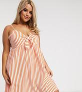 Asos DESIGN Curve cami bow front mini sundress in orange white stripe