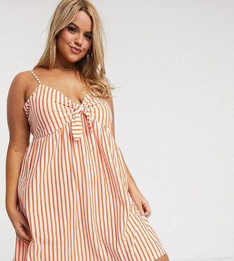 Asos DESIGN Curve cami bow front mini sundress in orange white stripe
