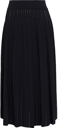 CASASOLA Otonella Pleated Pointelle-knit Midi Skirt