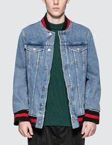 Denim varsity jacket mens