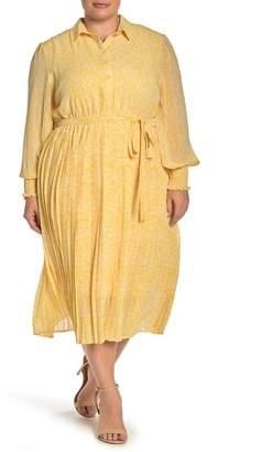 MelloDay Smocked Sleeve Midi Shirt Dress (Plus Size)