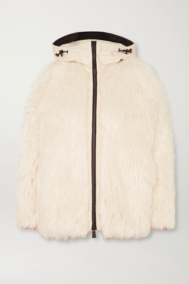 Moncler Oversized Hooded Shell-trimmed Faux Shearling Jacket - White