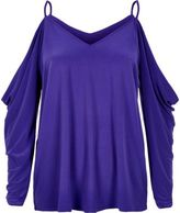 River Island Womens Blue ruched cold shoulder top