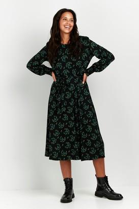 Wallis Green Floral Print Puff Sleeve Midi Dress