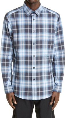Burberry Burberrry Chingford Classic Fit Embroidered Logo Ombre Check Button-Up Shirt