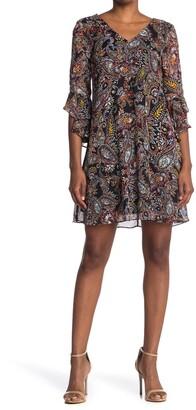 Calvin Klein V-Neck Ruffle Sleeve Shift Dress