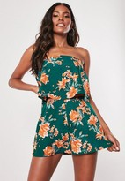 Missguided Teal Floral Layered Bandeau Romper