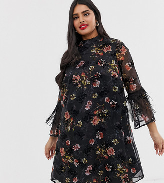 Koko flocked floral shift dress with fringed sleeves