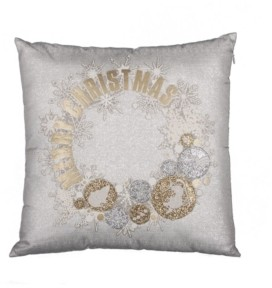 "Manor Luxe Ornament Wreath Square Christmas Pillow, 18"" x 18"""