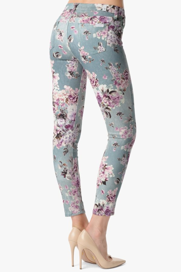 """7 For All Mankind The Ankle Skinny In Victorian Floral (28"""" Inseam)"""