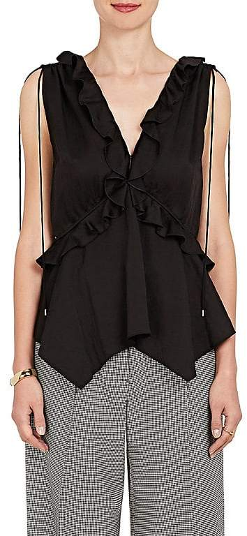 Derek Lam 10 Crosby WOMEN'S RUFFLED WASHED CREPE TOP