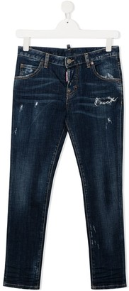 DSQUARED2 TEEN distressed straight-leg jeans
