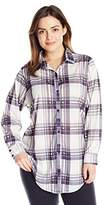 Paper + Tee Women's Plus-Size Collared Plaid Tunic Top