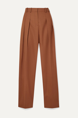 Victoria Victoria Beckham Victoria, Victoria Beckham - Pleated Woven Straight-leg Pants - Brown