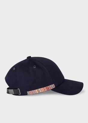 Paul Smith Navy 'Signature Stripe' Trim Cotton Baseball Cap