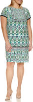London Times Short Sleeve Knit Sheath Dress-Plus