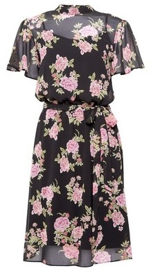 Dorothy Perkins Womens **Dp Tall Black Floral Print Fit And Flare Dress, Black