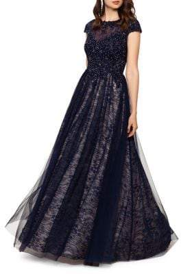 Xscape Evenings Embellished Floral Lace Sheer Gown