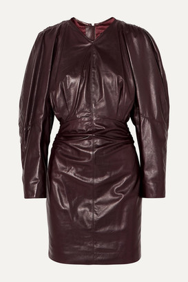 Isabel Marant Celini Ruched Leather Mini Dress - Burgundy