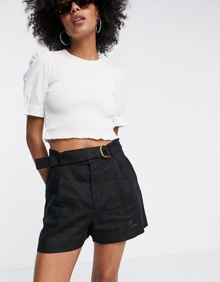 And other stories & linen belted shorts in black