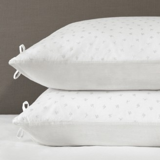 The White Company Laurent Classic Pillowcase - Set of 2, White Grey, Super King