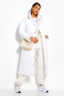 boohoo Teddy Faux Fur Trim Longline Puffer Jacket