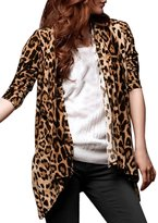 Allegra K Women Leopard Prints Long Sleeve Open Front Cardigan L Beige Coffee