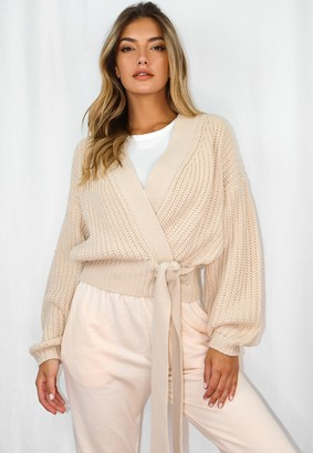 Missguided Stone Belted Knitted Cardigan