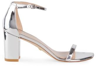 Stuart Weitzman Amelina Block-Heel Metallic Sandals