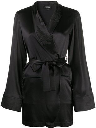 La Perla Lace-Panelled Silk Robe