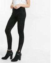 Express faux suede seamed ankle zip leggings