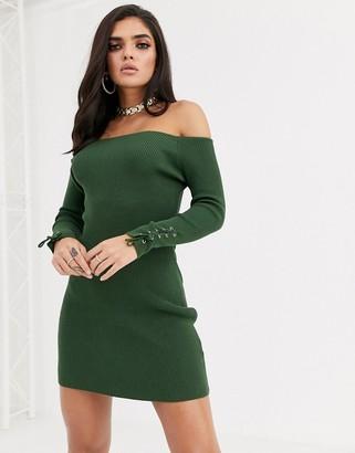 Bardot Asos Design ASOS DESIGN knit mini dress with lace up cuff detail-Green
