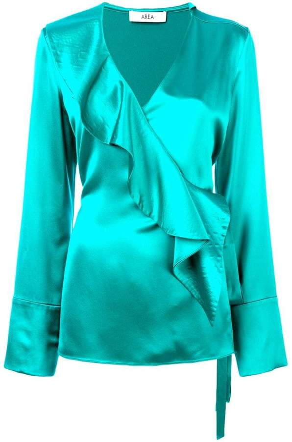Area ruffle-front blouse