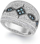 Macy's Blue (1/8 ct. t.w.) and White (1/3 ct. t.w.) Diamond Ring in Sterling Silver