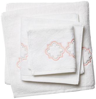 Hamburg House 3-Pc Quatrefoil Towel Set - White/Pink