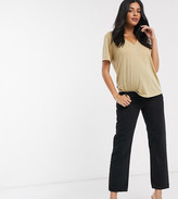 Asos DESIGN Maternity Mid rise 'off duty' straight leg jeans in washed black with over the bump band