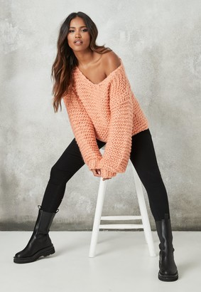 Missguided Orange Hand Knit V Neck Oversized Jumper