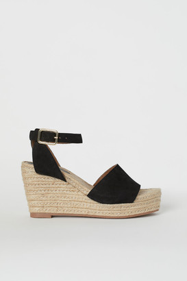 H&M Satin Platform Sandals - Black