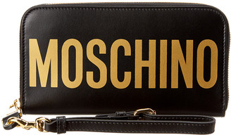 Moschino Logo Printed Leather Zip Around Wallet