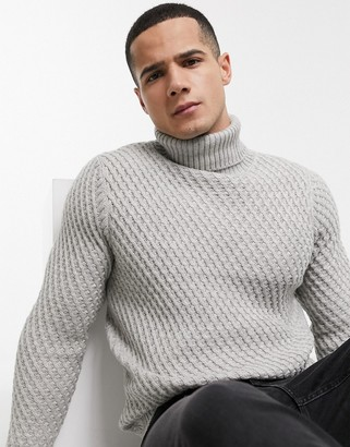 Burton Menswear chunky roll neck jumper in grey