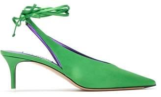 ATTICO The Caterina Wraparound Satin Slingback Pumps - Womens - Green