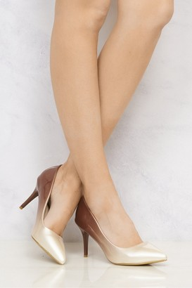 Miss Diva Alani 2 Tone Medium Heel Court Shoe in Beige