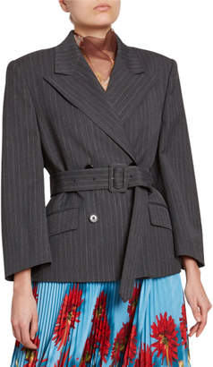 Dries Van Noten Pinstriped Oversized Belted Jacket