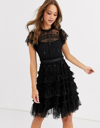 Needle & Thread embroidered tiered mini dress in black