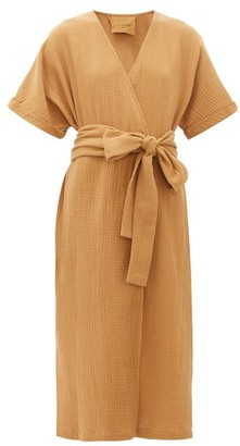 Loup Charmant Kichi Cotton-seersucker Wrap Dress - Tan