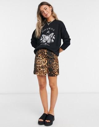 New Look cosmic butterfly logo sweatshirt in black