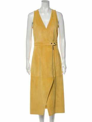 Sally LaPointe V-Neck Long Dress w/ Tags Yellow